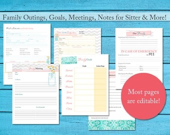Family Planner Mom Organizer Printable w/ 30+ pgs of Editable PDFs | Instant Digital Download