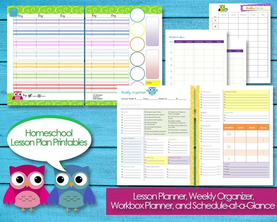 Comprehensive image with printable homeschool planners