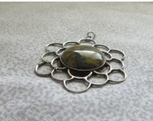 Mexican Sterling Pendant - Natural Stone Center - Vintage c1960