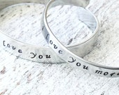 i love you - i love you more Mother Daughter Silver Cuff Bracelet Set
