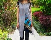 Indian sari inspired - poetic layered tunic boho print version (Y1505C)
