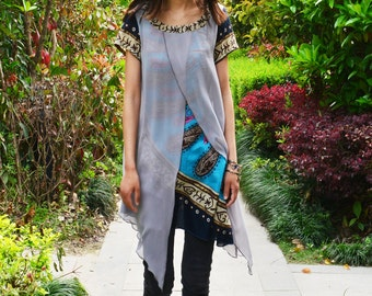 Indian sari inspired - poetic layered tunic boho print version (Y1505C)