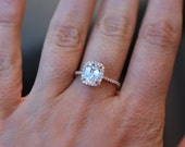 White sapphire engagement ring 14k rose gold diamond ring 2ct cushion cut cushion sapphire