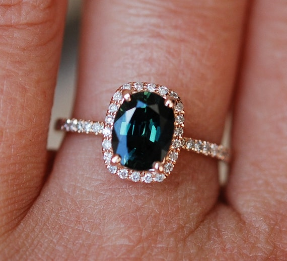 Green sapphire engagement ring. Peacock green sapphire 1.52ct cushion halo diamond  ring 14k Rose gold. Engagenet rings by Eidelprecious.