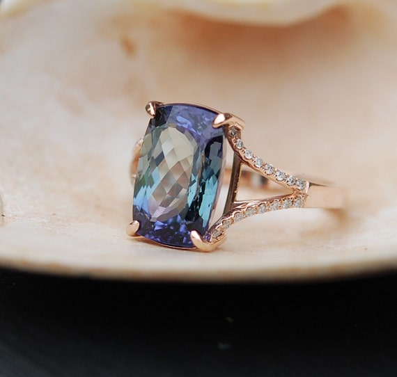 Tanzanite Ring Rose Gold Engagement Ring By Eidelprecious