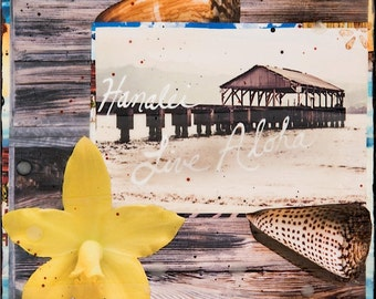 HANALEI, LIVE ALOHA, Giclee, 8x8 and Up, Kauai, Hanalei Pier, Shells, Orchids, Hawaii, Hawaiian Art, Dock, Ocean Art, Wall Art