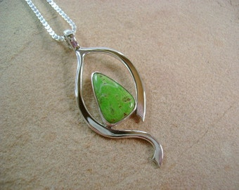 Australian Gaspeite and Forged Sterling Silver Pendant