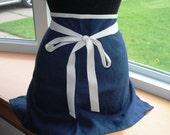 Handmade Linen Cafe Apron Indigo Blue Bistro Apron Barista Apron Half Apron Kitchen Apron Baking Apron