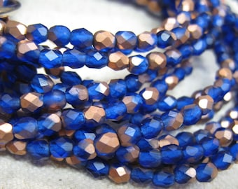 Sapphire Blue Copper Matte Czech Glass Firepolished Crystal Beads 4mm