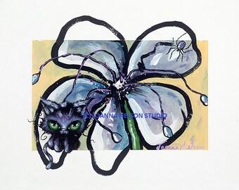 METALLIC PRINT Joanna Nelson Black Cat Magic spider gift Fantasy art flower Fairy Acrylic kitten OOAK Fairytale