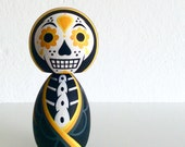 Day of the Dead kokeshi doll Yellow variant