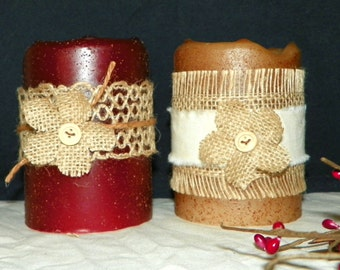 4 Inch Primitive Textured TIMER PILLAR Candles, Battery Operated