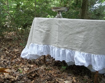 Natural Linen Tablecloth White Ruffled Tablecloth Handmade Wedding  Decoration Table Decor French Country Prairie Cottage 60x66