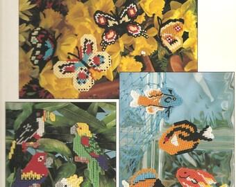 Plastic canvas tropical magnets