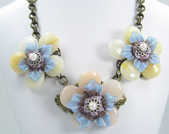 Handmade Glass Lampwork Flower Necklace and Earrings - Purple and Blue