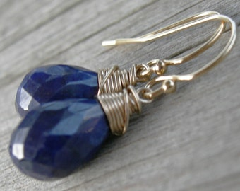 Navy Blue Sapphire Gold Wire Wrapped Earrings