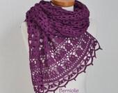 Lace crochet shawl, Violet, Purple, Cotton,  N329