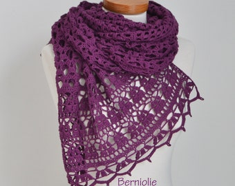 Lace crochet shawl, Violet, Purple, Cotton,  N329