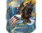 "EAGLE w Flag on ONE 18"" x 22"" Fabric Panel to Quilt or Sew"