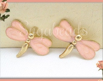 4 Gold Tone Peach Pink Enamel Dragonfly Charms 27mm - Gold Dragonfly Charms