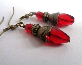 red earrings, red drop earrings,dangle earrings