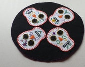 Sugar Skulls Table Candle Mat Hand Created and Embroidered