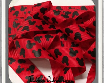 "Mickey Mouse heads 2 yards on Red 7/8"" grosgrain ribbon  TWRH"