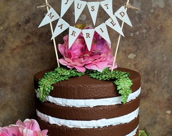 """Wedding cake topper...""""just married"""" banner for your rustic woodland look wedding cake"""