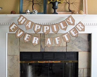 Wedding party reception banner, happily ever after, rustic beach country hippie backyard outdoor informal celebration decor decorations
