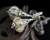 Boro Glass Earrings: Sterling Silver, borosilicate glass, lantern earrings, peacock colors, dangle earrings, sterling jewelry, tan, ear post