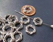 Beads, Metal Bead Frames, Antique Silver Bead Frames, 11mm diameter, BF1011