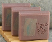 Sale - Raspberry Patchouli Handcrafted Soap with Swirled Embeds