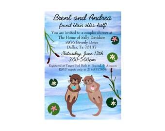 Customized Wedding Shower Invitation Printable -Otter Themed Invite