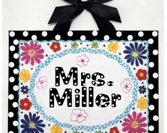 Personalized Teacher name sign Custom canvas wall art classroom decor wall hanging painting black white dots flowers teacher door sign
