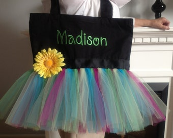 Embroidered Personalized Tutu Tote Bag