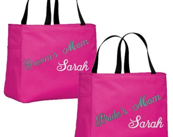 Set of 2 Personalized Tote Bags for Bride's Mom, Groom's Mom