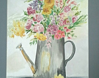 Bouquet of Flowers Golds Reds Purples in Gray Watering Can in 11x14 gray  matboard