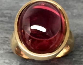 Brazilian Rubellite Tourmaline 16x12mm 11.21 Carat in 14K yellow gold ring, also available in White gold 0261