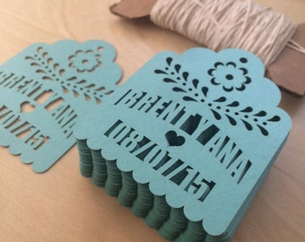 Laser Cut Tags (150 pieces) PERSONALIZED for Party Favors with your names and date fiesta wedding