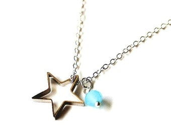 Tiffany blue white bead and silver star necklace CLEARANCE