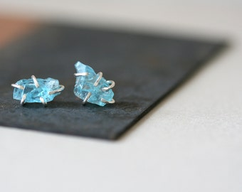 Aqua Blue Apatite Studs