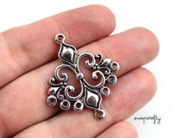 10pc antique silver fleur de lis chandelier charm / silver plated pendant drop / nickel-free, lead-free