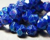 Czech Metallic Blue English Cut Fire Polished Glass Round 10mm Beads (15) 0978