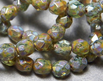 Czech Green Picasso Faceted Round Glass Beads 6mm (25) 145B