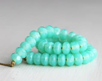 50 Milky Seafoam 3x5mm Faceted Rondelles - Czech Glass Beads