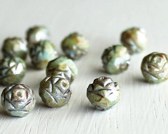12 Opaque Green Luster Glass Rosebuds 7x8mm - Czech Glass Beads