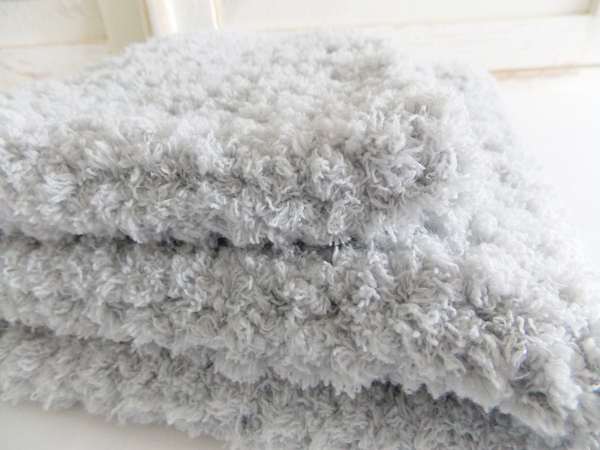 Gray fuzzy baby blanket super soft stroller receiving