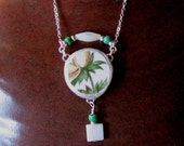 """Vintage Broken China Ceramic Shard Necklace, Sterling Silver, Mother of Pearl & Glass Beads, Yellow Flower """"Summer Day"""""""
