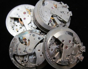 Vintage Antique Round Watch Movements Steampunk Altered Art Assemblage N 63
