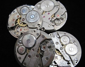 Vintage Antique Round Watch Movements Steampunk Altered Art Assemblage  Q 67